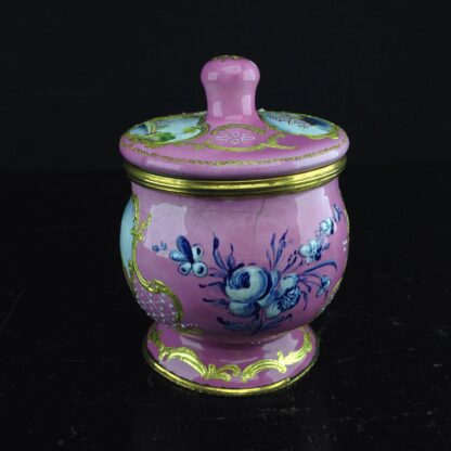 English enamel mustard pot, pink ground with landscapes, c.1770 -4415