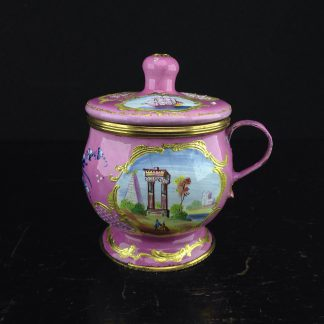 English enamel mustard pot, pink ground with landscapes, c.1770 -0