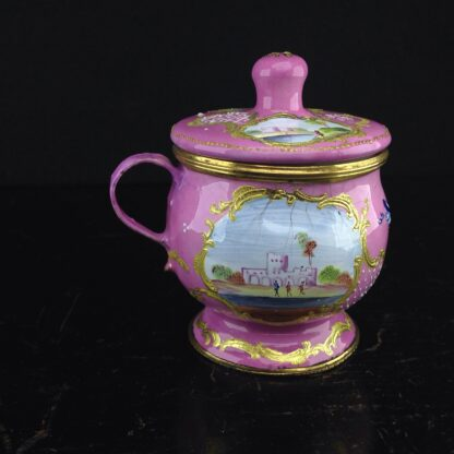 English enamel mustard pot, pink ground with landscapes, c.1770 -4417