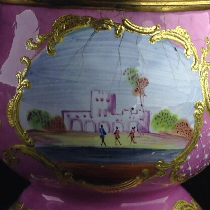 English enamel mustard pot, pink ground with landscapes, c.1770 -4421