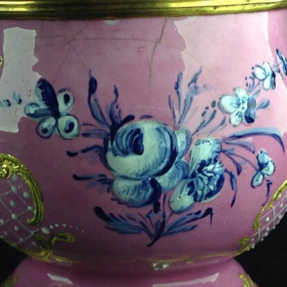 English enamel mustard pot, pink ground with landscapes, c.1770 -4422