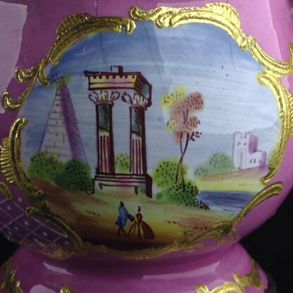 English enamel mustard pot, pink ground with landscapes, c.1770 -4423