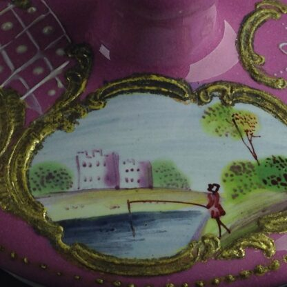 English enamel mustard pot, pink ground with landscapes, c.1770 -4424