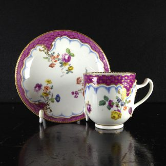Meissen cup & saucer, scale purple border with flowers, c.1765 -0