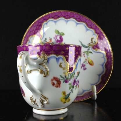 Meissen cup & saucer, scale purple border with flowers, c.1765 -1039