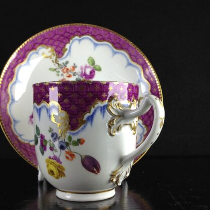 Meissen cup & saucer, scale purple border with flowers, c.1765 -1040