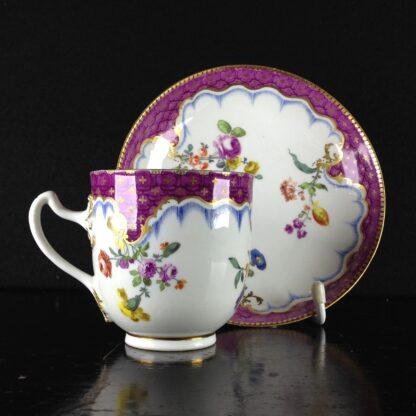 Meissen cup & saucer, scale purple border with flowers, c.1765 -1041