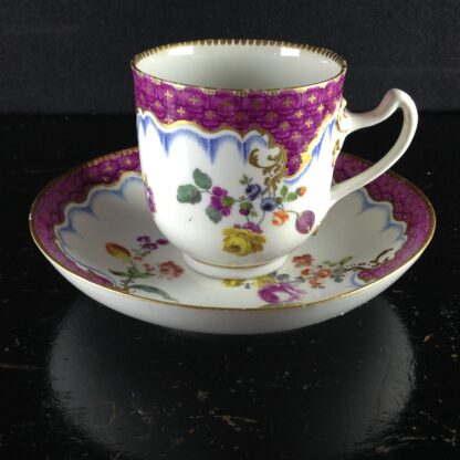 Meissen cup & saucer, scale purple border with flowers, c.1765 -1043