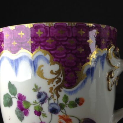 Meissen cup & saucer, scale purple border with flowers, c.1765 -1044
