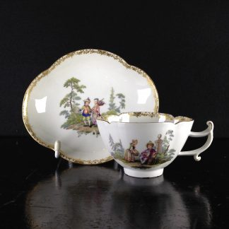 Meissen quatrefoil cup & saucer, children in landscapes, c. 1745 -0