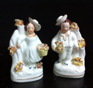 Staffordshire miniature pair of children with baskets, c.1840 -0