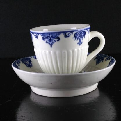 Saint-Cloud trembleuse cup & saucer, rare N mark, c.1725 -1060