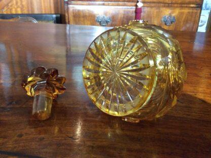 Bohemian amber cut glass perfume decanter, c.1845.-309