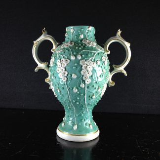 Derby vase with flower moulding over turquoise ground, c. 1765 -0