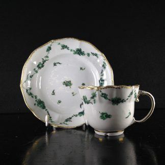 Champions Bristol cup & saucer, green swags with gilt, c. 1775 -0