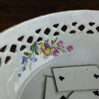 South Staffordshire enamel counter basket with card decoration, c.1785 -5033