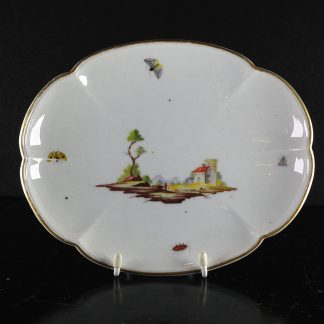 Niderville dish painted with landscape and bugs, c.1770 -0