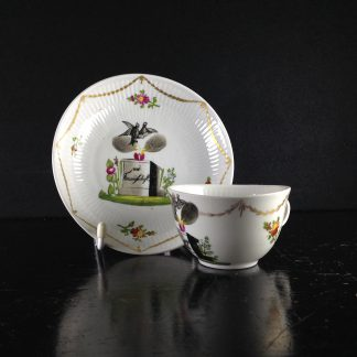 Wallendorf cup & saucer, marriage inscription, c. 1770 -0