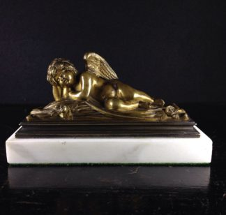 Bronze of a sleeping cherub, 19th century -0