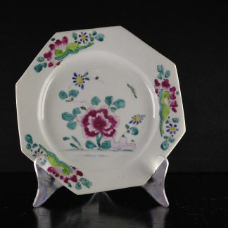 Bow octagonal plate with famille rose flowers, C. 1755 -0