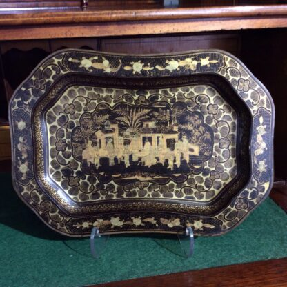 Chinese lacquer tray, gilt scenes, 19th century -323