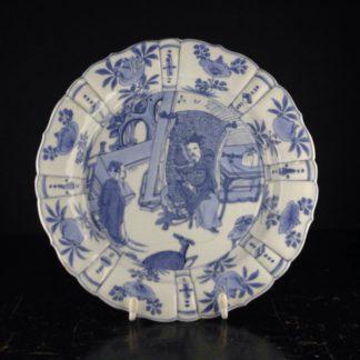 Chinese porcelain plate, scholars & deer, Kanxi c.1700 -0