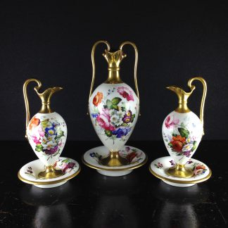 Garniture of three Minton Pembroke ewers and stands, Swansea style, c. 1825 -0