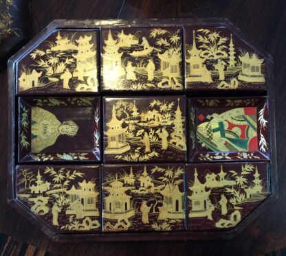 Chinese lacquer games box, fitted interior, c.1830 -9361