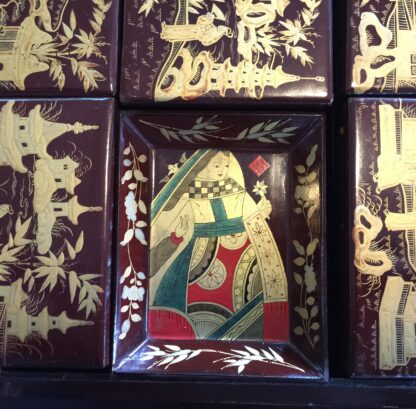Chinese lacquer games box, fitted interior, c.1830 -9363