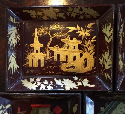 Chinese lacquer games box, fitted interior, c.1830 -9374