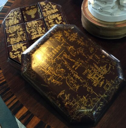 Chinese lacquer games box, fitted interior, c.1830 -9380