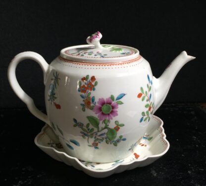 Worcester Tea Pot and Stand painted with oriental flower sprays, c.1765 -0
