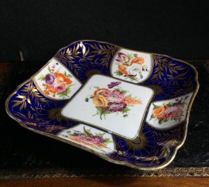 Coalport blue ground square dish with superb flowers, London decorated, C. 1805 -10309