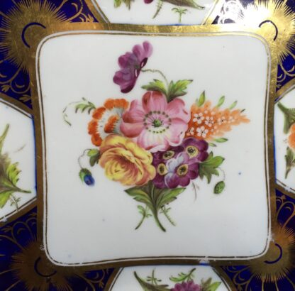 Coalport blue ground square dish with superb flowers, London decorated, C. 1805 -10315