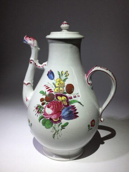 Doccia coffee pot with birds head spout, flower painted, c. 1765 -29021