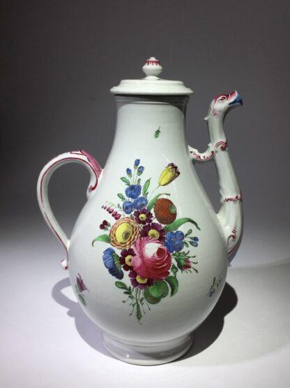 Doccia coffee pot with birds head spout, flower painted, c. 1765 -29029