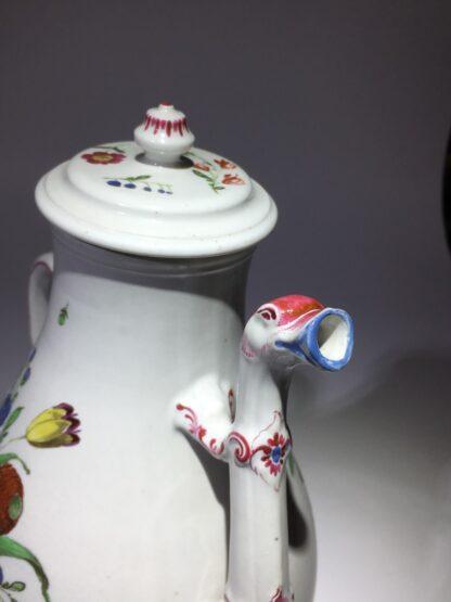 Doccia coffee pot with birds head spout, flower painted, c. 1765 -29024