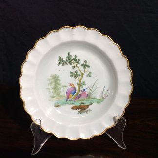 Worcester scalloped rim cabinet plate, exotic birds, Davis, c.1780 -0