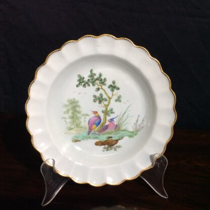 Worcester scalloped rim cabinet plate, exotic birds, Davis, c.1780 -0