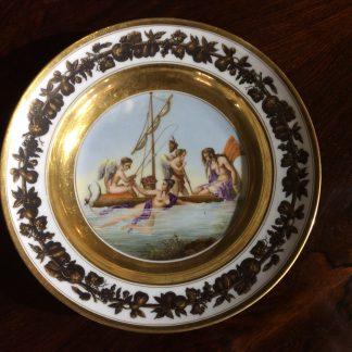Paris porcelain plate, Neoclassical figures 'La Peche aux Cœurs' c.1820 -0