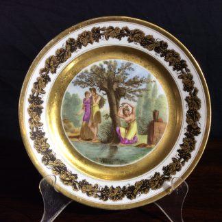 Paris porcelain plate, Neoclassical figures 'l'Origine de la Coquetterie' c.1820 -0