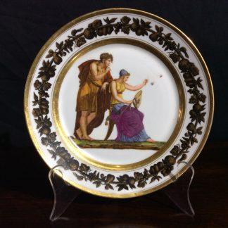 Paris porcelain plate, Neoclassical figures 'Les Plaisirs de la Frivolite' c.1820 -0