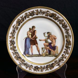 Paris porcelain plate, Neoclassical figures c.1820 -0