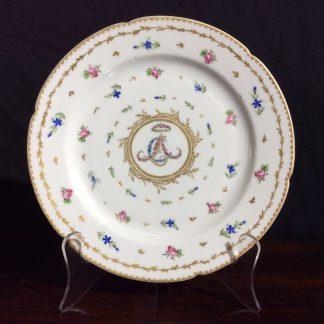La Courtaille (Paris) plate with floral monogram CLA, c.1785 -0