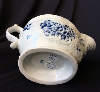 Caughley sauceboat, rib moulded with underglaze blue flower groups, c. 1780 -19843