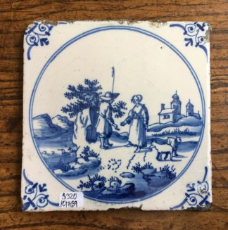 Dutch Delft tile, shepherd, c. 1700 -0