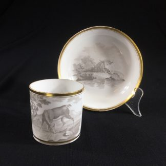 Spode bat printed coffee can & saucer, c.1810 -0