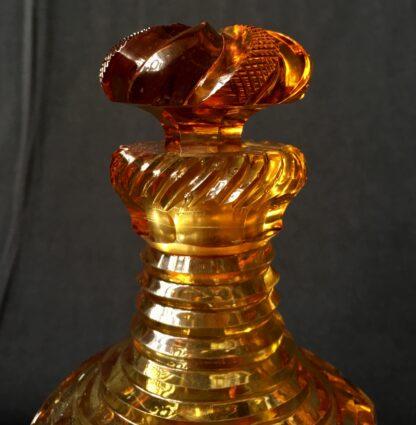 Bohemian amber cut glass perfume decanter, c.1845.-20795