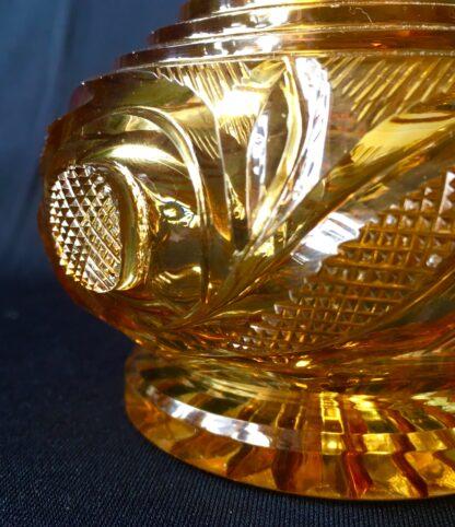 Bohemian amber cut glass perfume decanter, c.1845.-20801