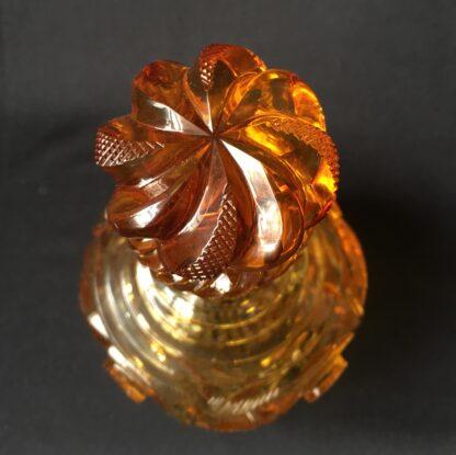 Bohemian amber cut glass perfume decanter, c.1845.-20796
